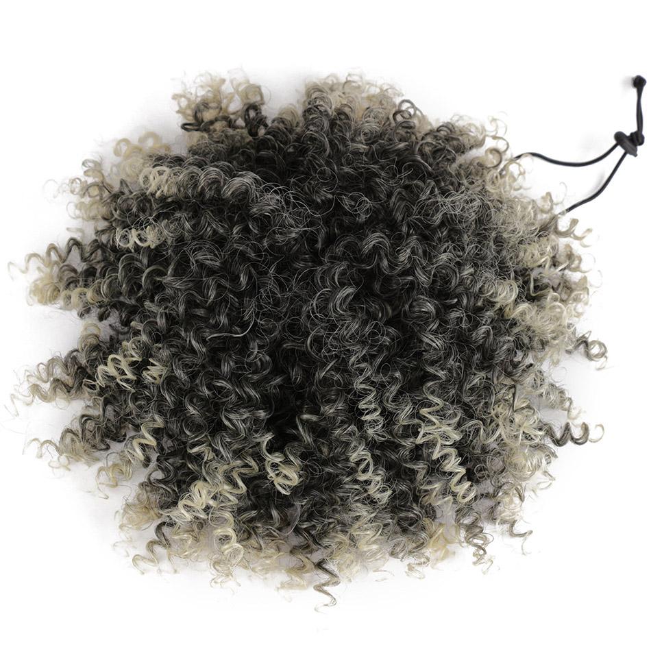 echthaar grau puff afro verworren curly ombre blonde farbe chignon  haarknoten kordelzug ponytail wrap haarteil  grau-fälschungs-haar-verlängerungen