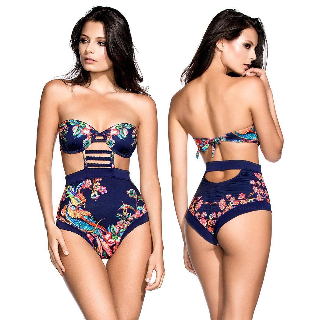 Moda nuevas mujeres Sexy impresión sin tirantes Bandeau una pieza traje de baño traje de baño ropa de playa Moda nueva ropa de mujer