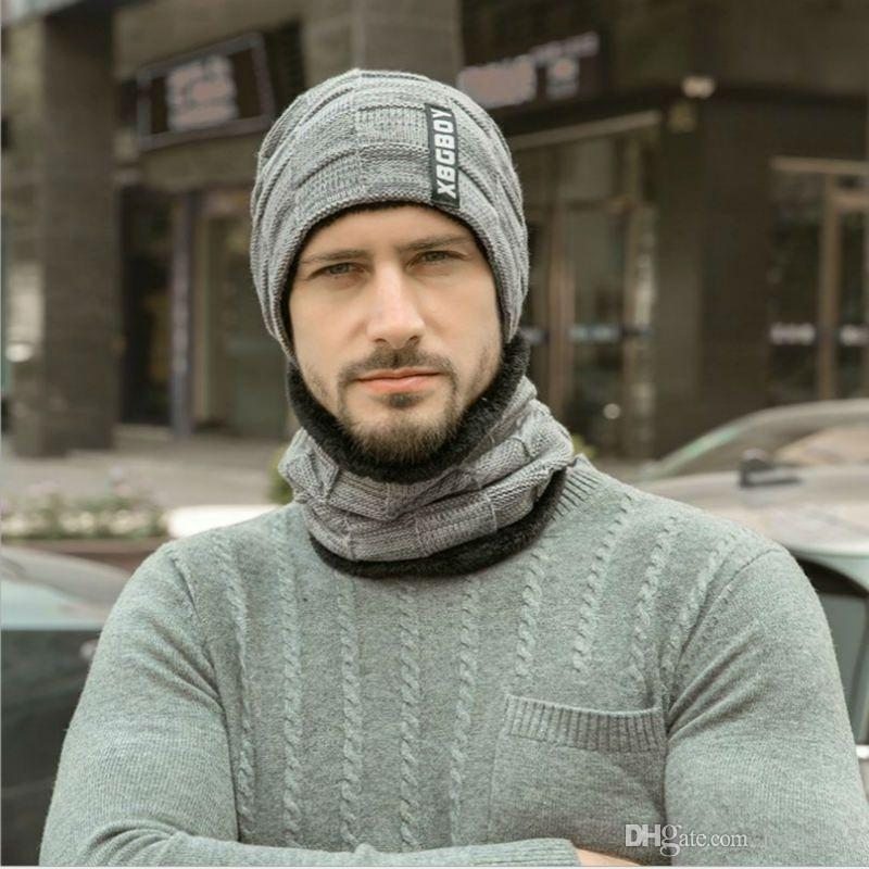 New Male Stylish Plus Velvet Hat Bib Knitted Ear Cap Covering Beanie Hats RD