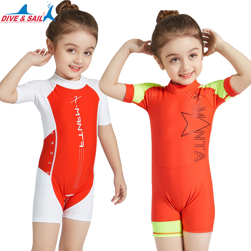 DiveSail kids girls one pieces swimsuit swimming suit surf swimwear uv protection for 5-9Y
