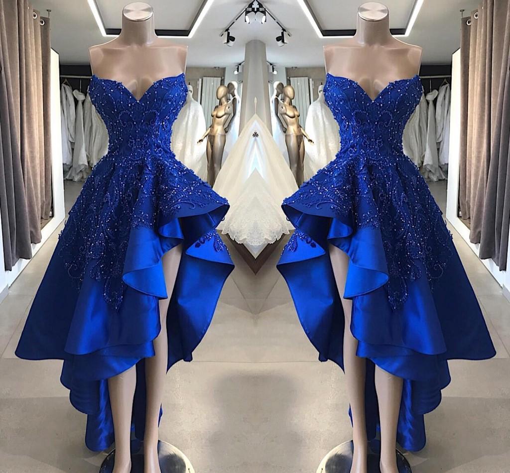Königsblau Eine Linie Satin High Low Abendkleider Spitze Perlen  Applikationen Kurze Ballkleider Asymmetrische Abend Party Wear BC9