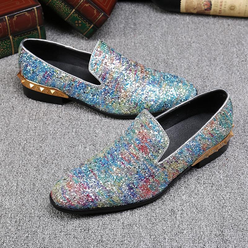 Sexy2019 Pop Robe De Soirée À Paillettes Chaussures De Bal De Mocassins Plus La Taille Rivets Fumer Des Pantoufles Glisser Sur Appartements
