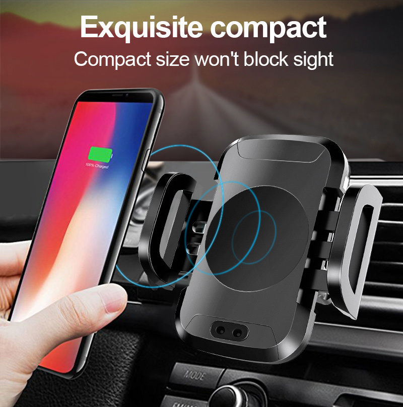 TOMKAS Qi Wireless Car Charger For iPhone X 8 8Plus Air Vent Car Holder Fast Wireless Charging Automatic Infrared Sensor Univers
