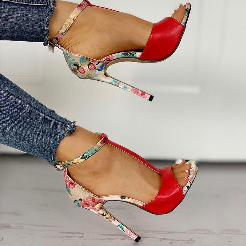 SWQZVT New thin heels women fish mouth open toe summer sexy party pumps women shoes 2020 fashion print vintage ladies sandals (4)