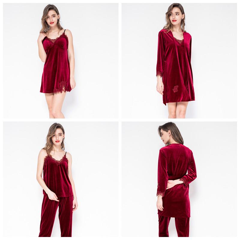 July's Song 2019 Gold Velvet Warm Winter Sets Women Sexy Lace Robe Pajamas Sleepwear Kit Sleeveless Nightwear Q190420