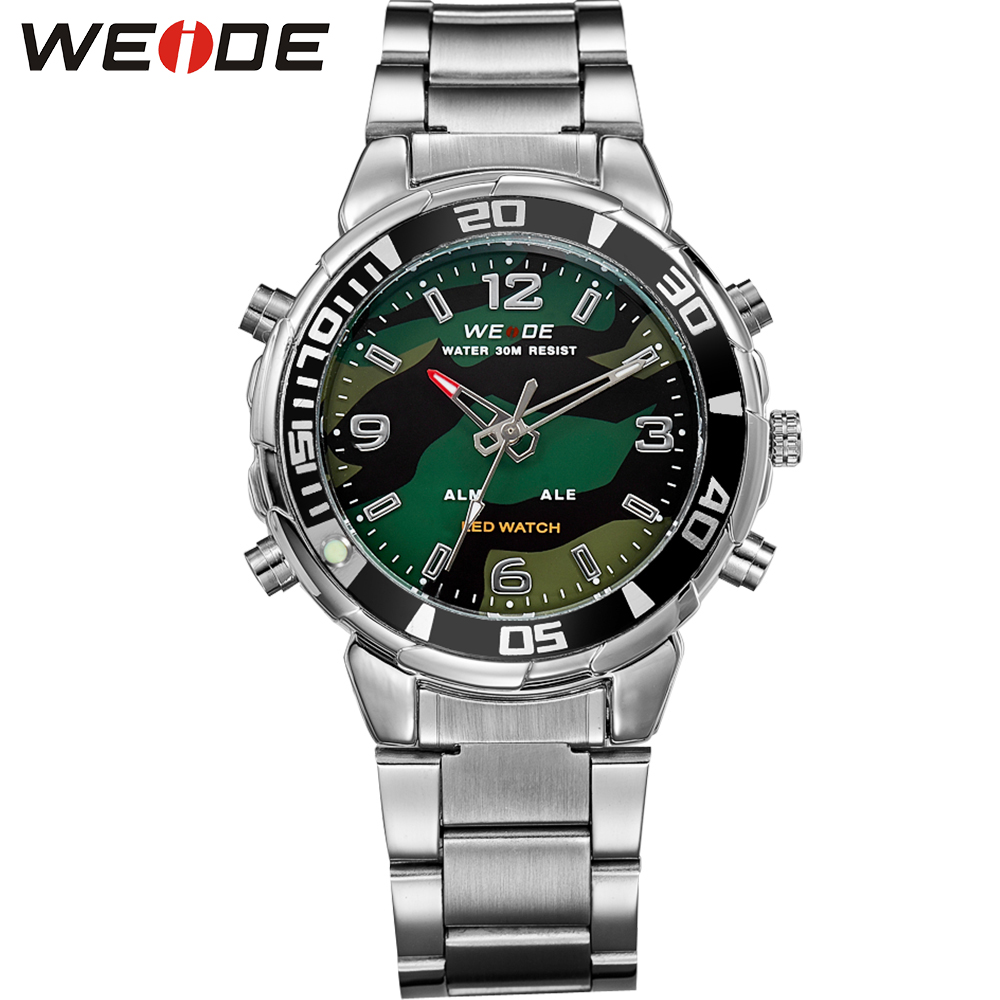 WEIDE Mens Sports Army Stopwatch Steel Strap Quartz Military LED Alarm Luminous Analog Digital Wristwatches relogios masculino