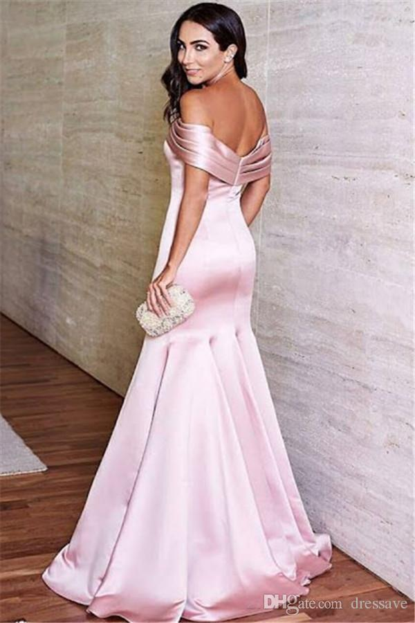 2018 Sexy Pink Backless Prom Dresses Elegant Mermaid Off Shoulders Ruffles Floor Length Celebrity Formal Evening Gowns