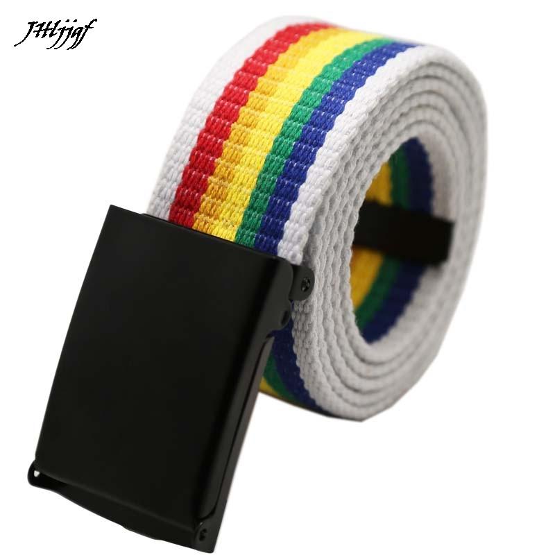 Fashion Unisex Rainbow Plain Webbing Men Waist Belt Waistband Casual Canvas Belt Alloy Circle