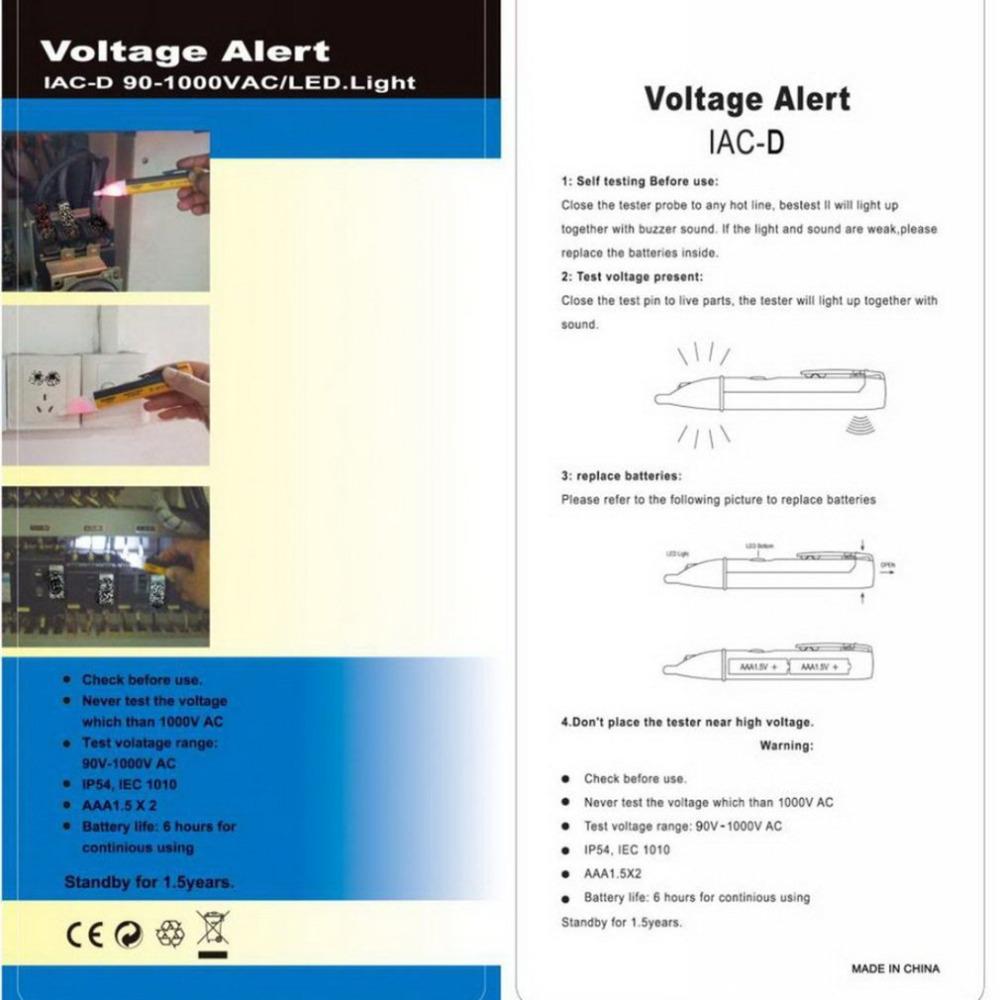 Electric Test Pen Socket Wall AC Power Outlet Voltage Detector Sensor Tester LED Light Voltage Indicator 90-1000V Worldwide Shop