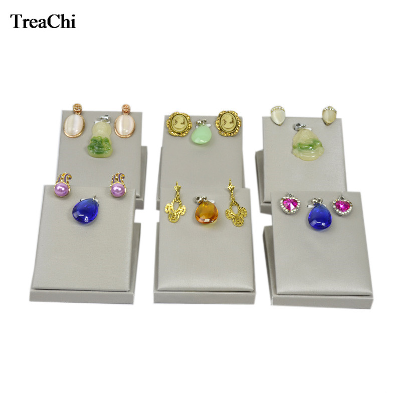 Direct Sale Faux PU Jewelry Display Rack Fashion Grey Earrings Organizer Pendant Exhibition Display Holder Stand 7*8*5 cm