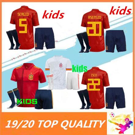 kids 2020 Europen cup Spain soccer Jersey kit socks RAMOS ISCO PIQUE SERGIO M. ASENSIO MORATA kids Spain Football uniforms shirts