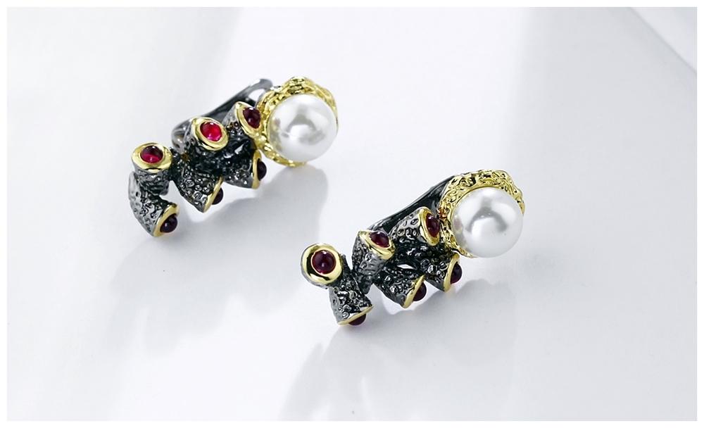 Simulated Pearl earrings WE3784 (6)