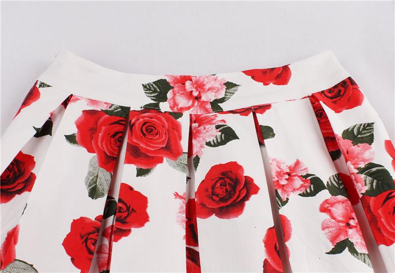 Kostlish Retro Print Flower Summer Skirts Womens High Waist Vintage Skirt Elegant A-Line Midi Women Skirt Plus Size XXL 22 (38)