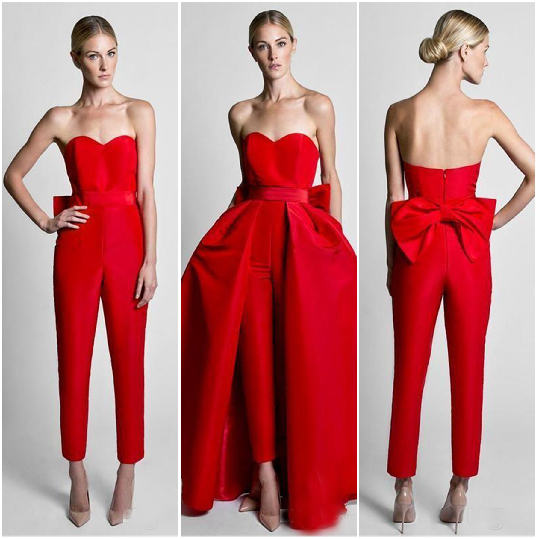 2020 New Hot Sale Red Jumpsuits Formal Evening Dresses With Detachable Skirt Sweetheart Prom Dresses Party Wear Pants for Women