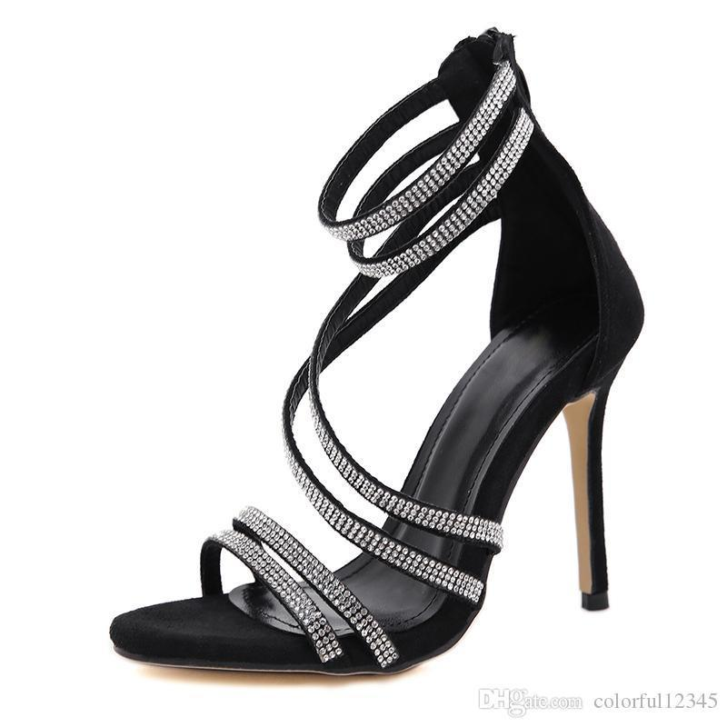Sexy2019 Lady Pop Toe Cristal Étroit Strass Talons Hauts Sandales Sexy Ladies Cross Tied Parti Pompes Chaussures