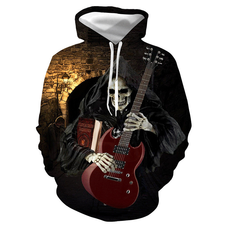 Motorcycle Zip Up Hoodie Guitar Hooded Sweatshirt for Men