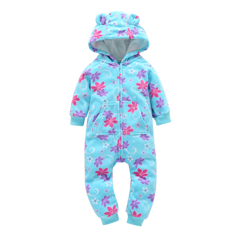 autumn winter baby clothes long sleeve hooded floral print one-piece romper for 6-24m BABY BOY GIRLS cotton