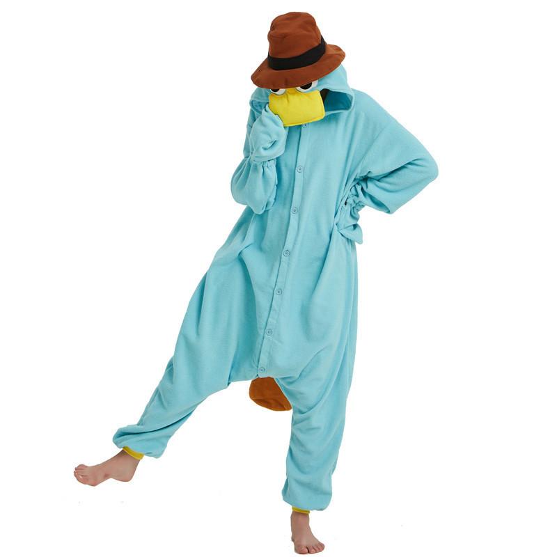 Unisex Perry the Platypus Costumes Onesies Monster Cosplay Pajamas Adult Pyjamas Animal Sleepwear Jumpsuit (4)