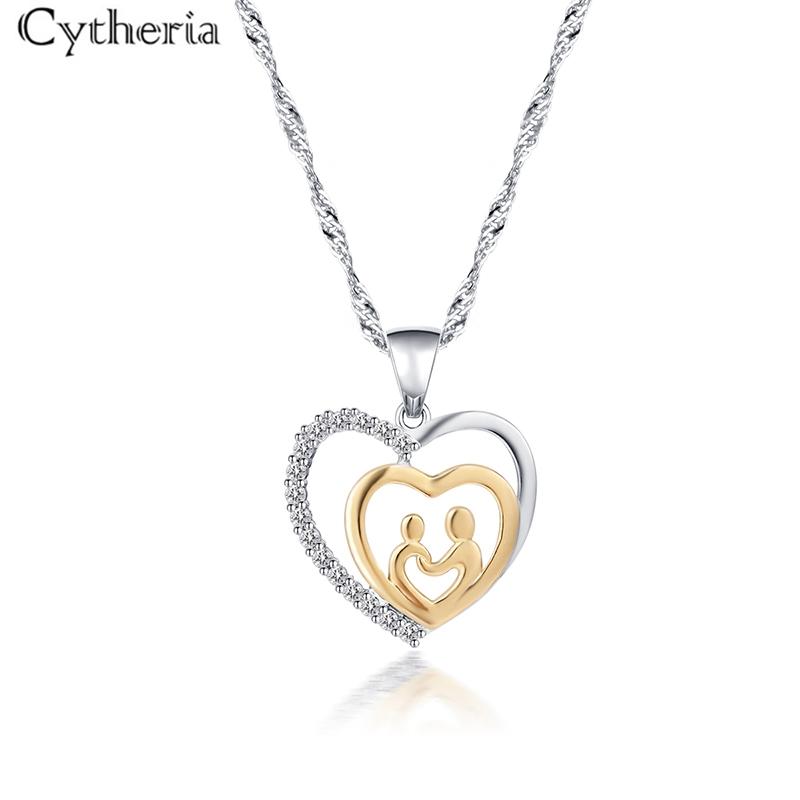 Charm Mother/'s Day Cadeau Pour Maman ami rouge cristal collier cœur pendentif nius