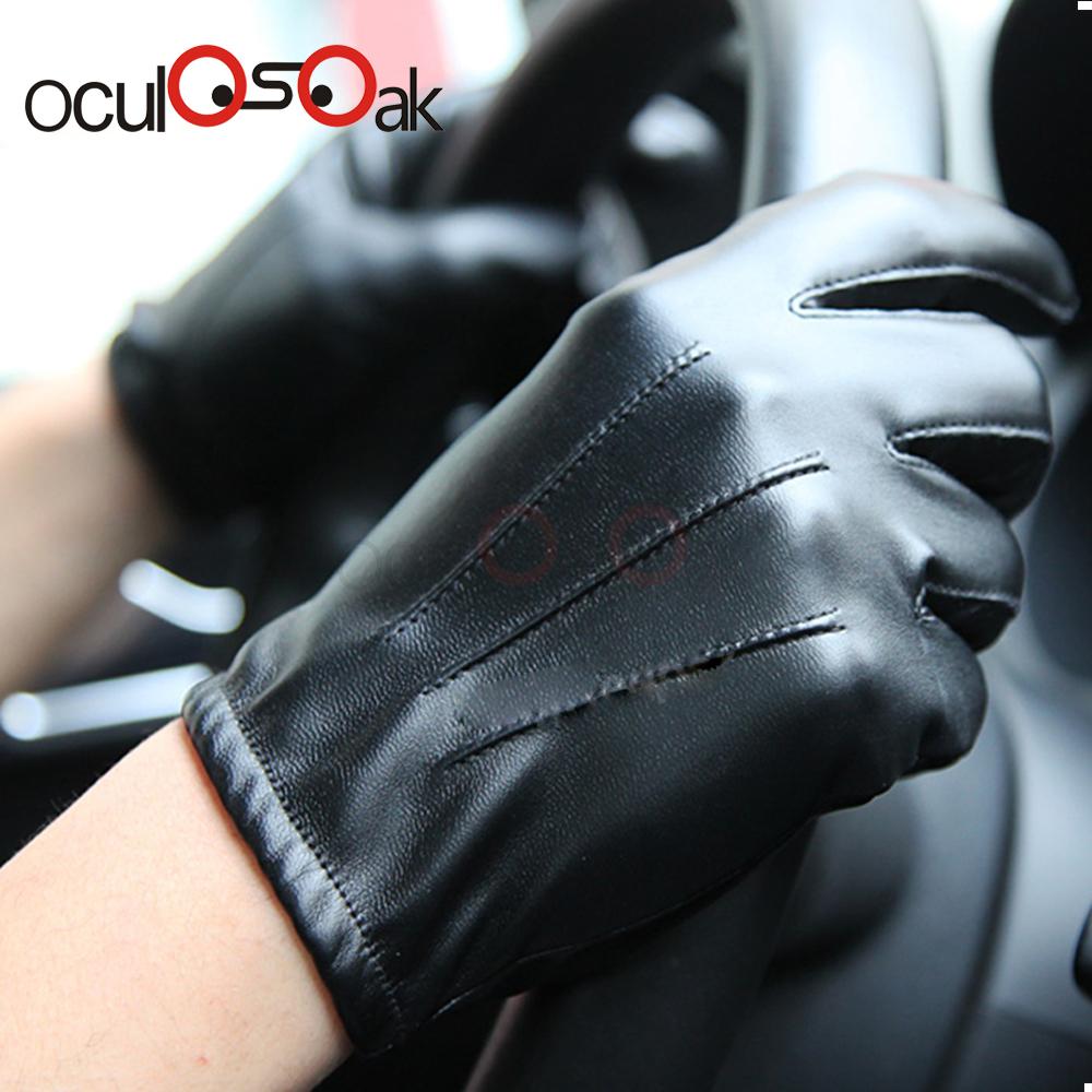 2019 Hommes de luxe en cuir Pu hiver conduite chaude gants chauds Cachemire gants tactiques Black Drop Shipping de haute qualité