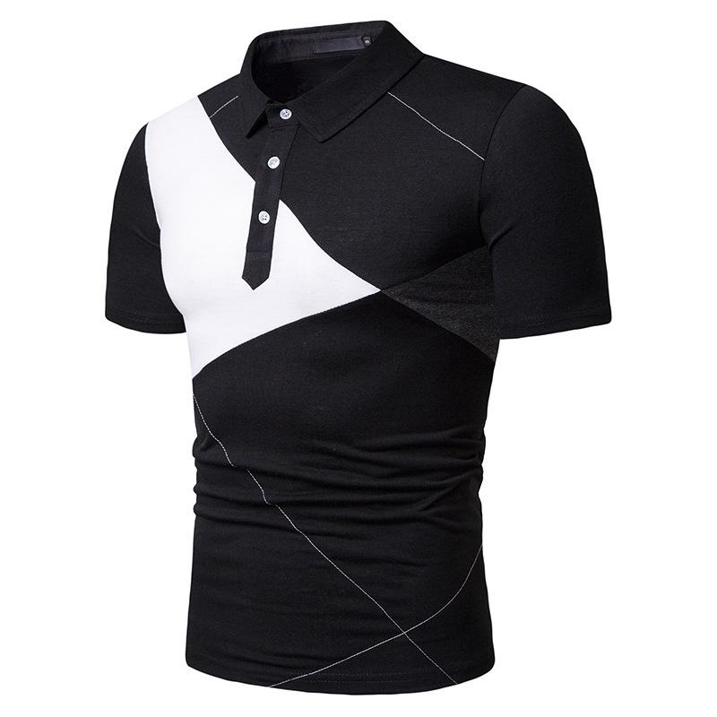Mode d'été nouvelle conception 2019 hommes T-shirt coloré loisirs lâche manches courtes POLO revers chemises
