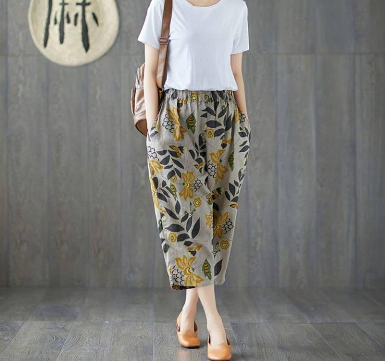 Plus Size 4XL Cotton Linen Harem Pants Trousers Women Vintage Print Slim Casual Elastic High Waist Cargo Radish Pants Women 20197