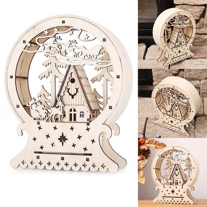 Christmas Decor Ornament LED Lights Deer Cart Luminous Wooden House Decoration