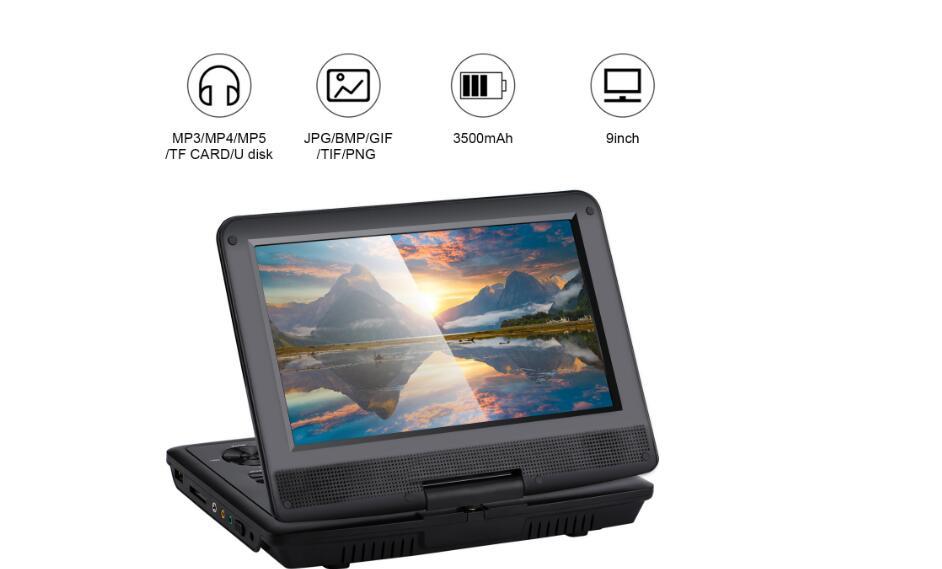 Yeni 9 Inç Taşınabilir DVD Oynatıcı Döner Ekran VCD CD MP3 DVD Oynatıcı USB SD Kart RCA TV Kablosu