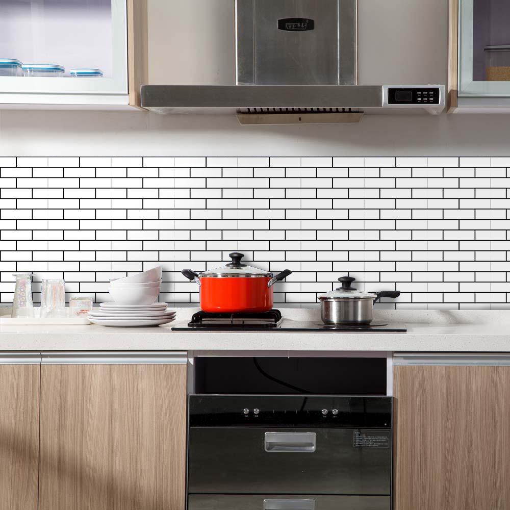 Fun Vision-Weiß Brick Selbstklebendes PVC-Fliesen Wasserdicht Küche  Backspalsh Badezimmer-Wand-Aufkleber, Modern DIY Nordic Home Decor