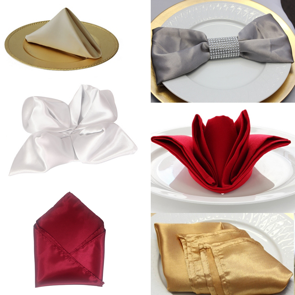 30cm Table Napkin Square Satin Fabric Pocket Handkerchief Cloth For Wedding Decoration Event Party Hotel Home Supplies C19021301