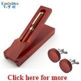 Emoshire Wooden Pen Ballpoint Pen Roller Ball Pen Gift Set with Wood Cufflinks (1)