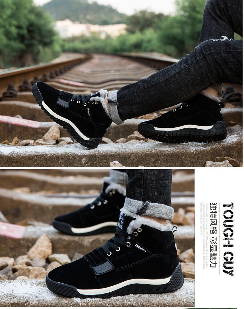 Acquista Scarpe Invernali Da Uomo Stivali Da Neve Tinta Unita Mantenere Caldi Gli Scarponi Da Sci Impermeabili Stivali Con Lacci Alla Caviglia Uomo