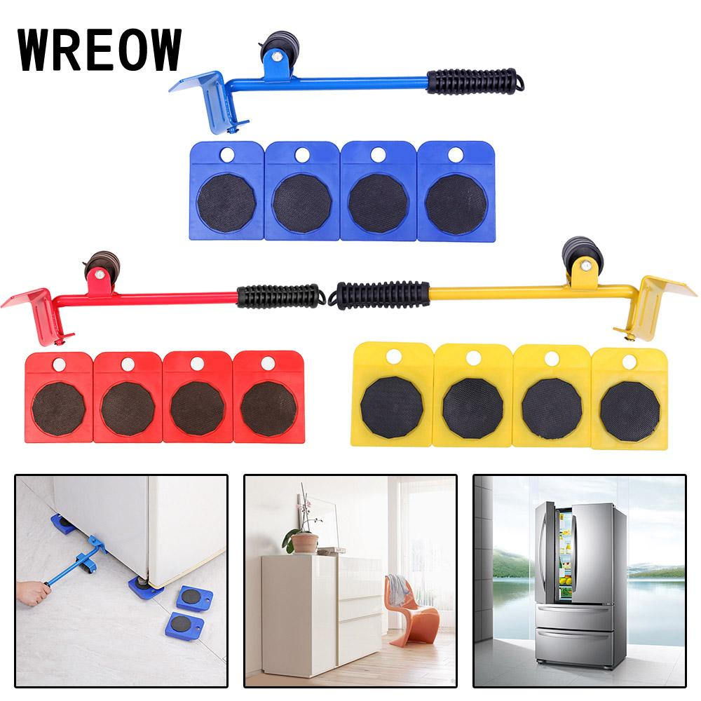 Moving Roller Kit Dolly Lifter Wheelset with 1 Lifting Rod and 4 Packs 360 Degree Rotatable Furniture Slides Kit Each Piece Load 75 kg Furniture Transport Tools Set