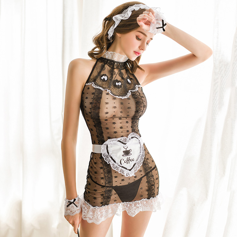 2020 sexy uniform Sexy lingerie retro palace style lace perspective night skirt maid suit