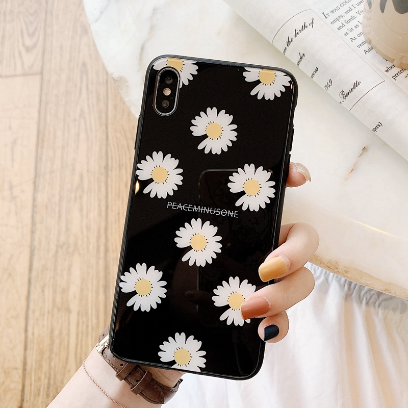 Luxury Designer Phone Cases for IPhone xsmax Xr X 7plus 8 6splus 8p Ins Net Red Daisy Glass Couple Named GD by Fujihara Fujihara