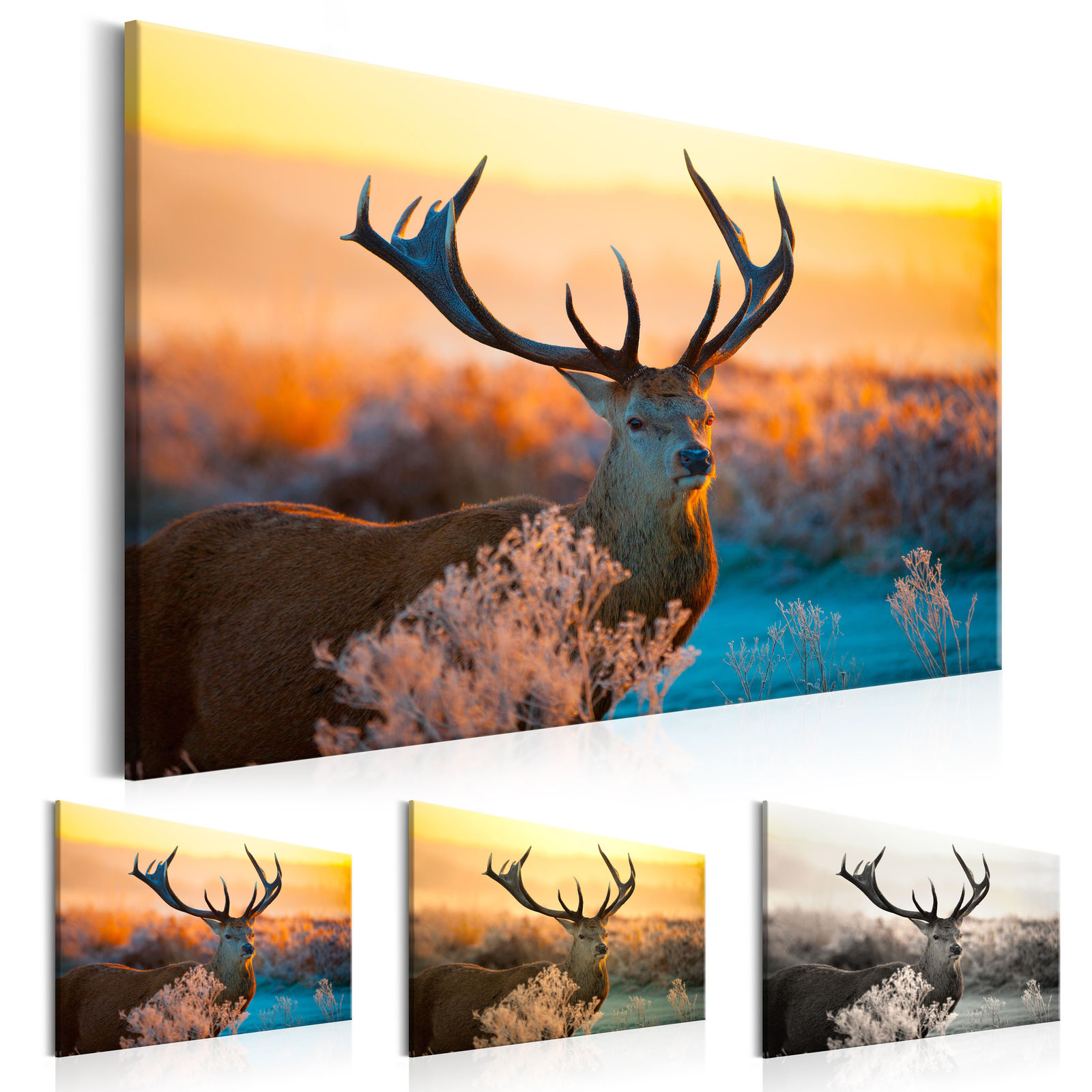Weirs River of Gold Elk Deer Animal Painting HD Print on Canvas Wall Art Picture