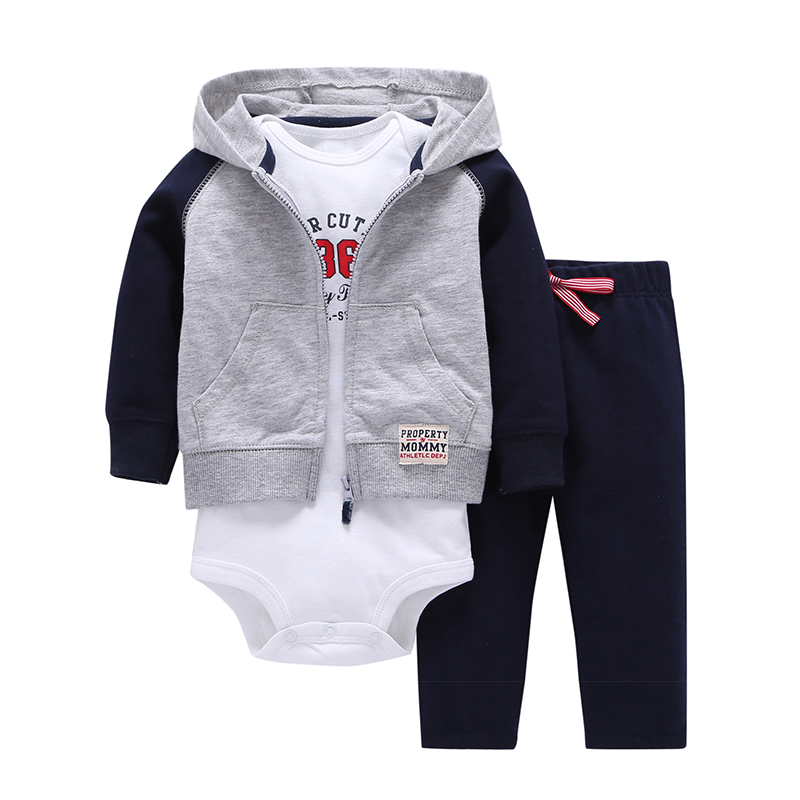 2018 spring baby boy clothes hooded patchwork coat+letter romper white+pants 3 piece clothing suit baby girl outfit 6-24 m