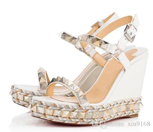 2018 New red bottom Summer Sandals Pyraclou 60 spiked metallic textured-leather wedge sandals,Buckle-fastening ankle strap rivets slingback