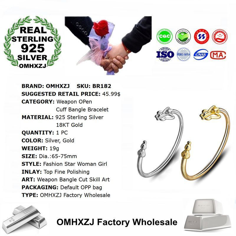 OMHXZJ Wholesale Personality Fashion OL Woman Girl Party Gift Weapon 925 Sterling Silver 18KT Gold Cuff Bangle Bracelet BR182