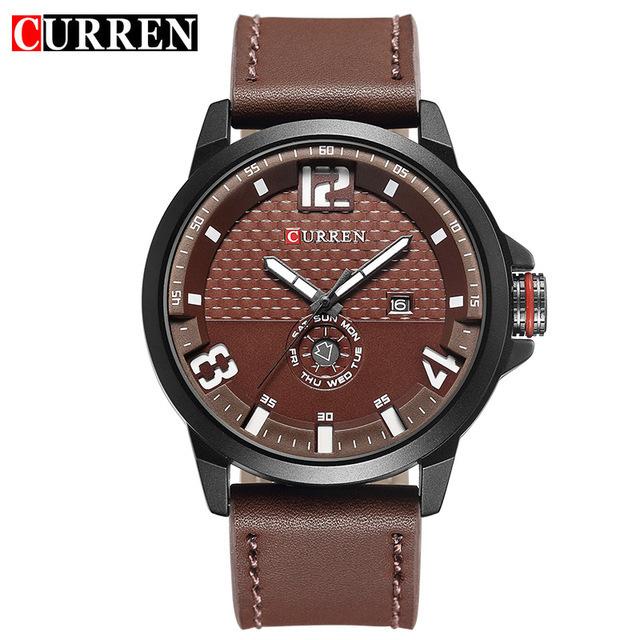 Curren 8253 New Fashion Casual Quarzo nero orologio da polso da uomo in pelle Relojes cinturino in pelle rotonda calendario al quarzo