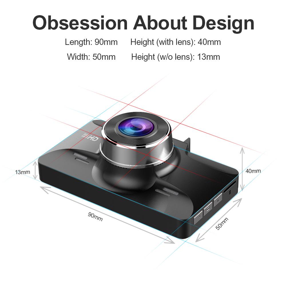 Mini Full HD1080P Dash Cam 3 inch 2.5D IPS Screen Car DVR Recorder Camera Car Video Recorder Dashcam M01 Dash Camera