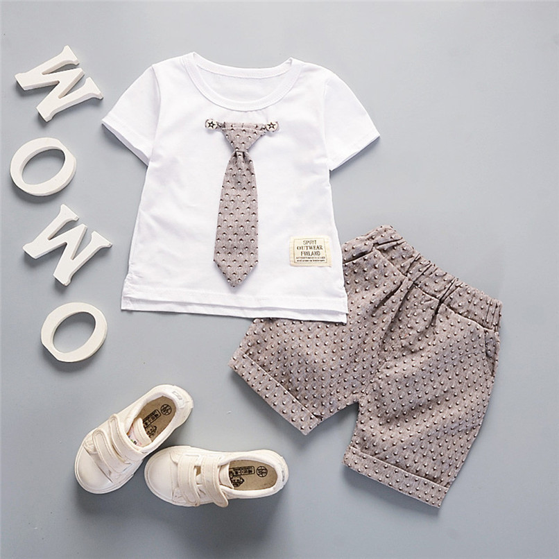 2Pcs Baby Sets Boy Toddler Kids Baby Boys Short Sleeve Solid Tie T-shirt Top+Print Pants Set Baby Boy Clothes Clothing M8Y18 (12)