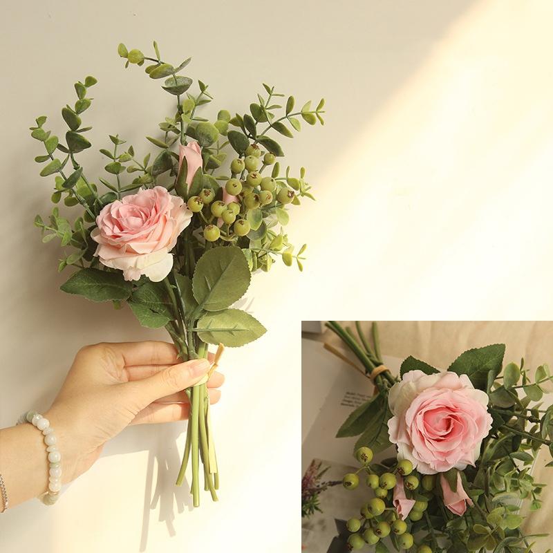 Doll House Giocattolo Mini a mano legato fiore bouquet ROSE FLOWER Arrangement fo