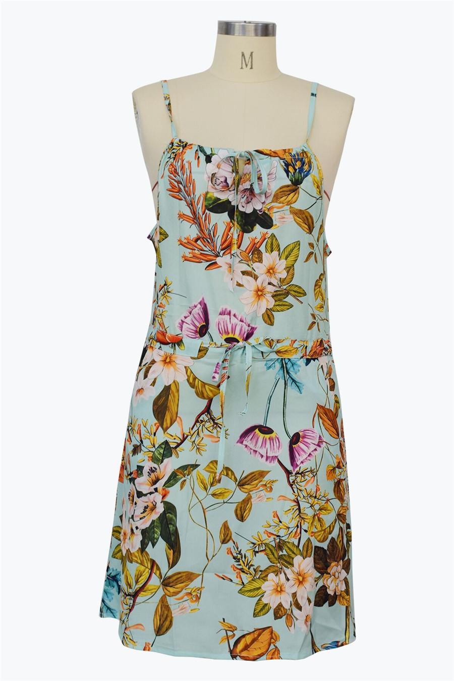 Gladiolus Chiffon Women Summer Dress Spaghetti Strap Floral Print Pocket Sexy Bohemian Beach Dress 2019 Short Ladies Dresses (29)