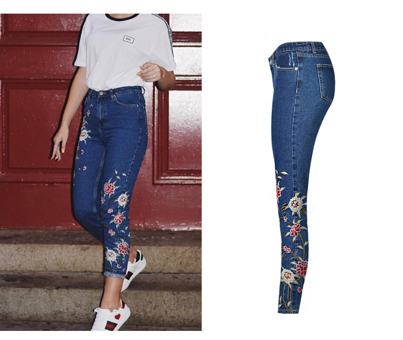 2017 European and American women 3D stereo front and rear side embroidery high waist Slim cowboy nine feet pants fashion wild (9)