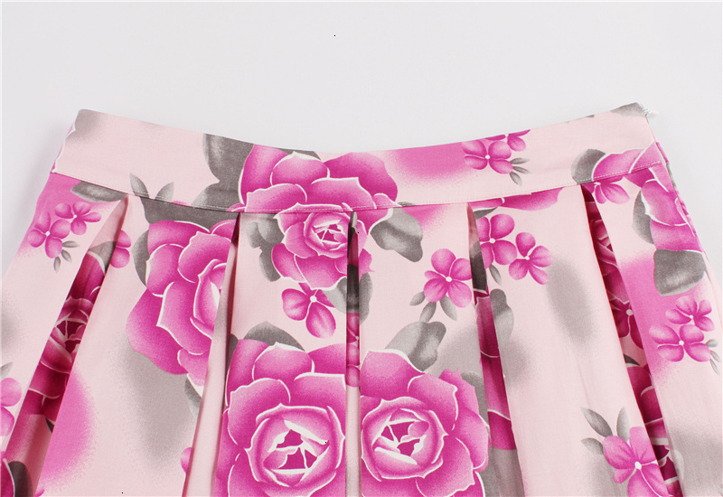 Kostlish Retro Print Flower Summer Skirts Womens High Waist Vintage Skirt Elegant A-Line Midi Women Skirt Plus Size XXL (22)