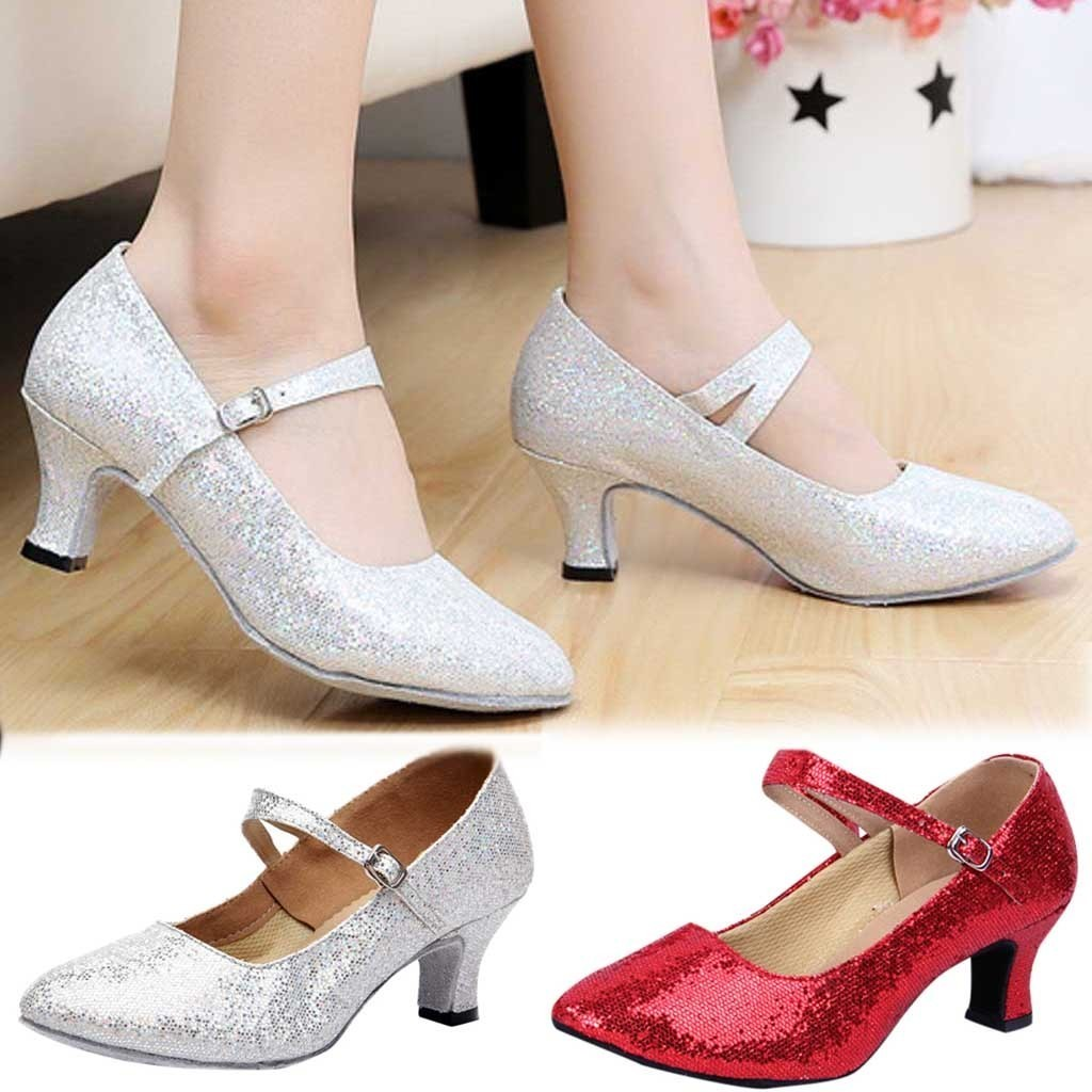 Designer Dress Shoes Spring New Glitter Women Point Mid-high Heels Ballroom Latin Tango Rumba Dance Sexy High Heels Women