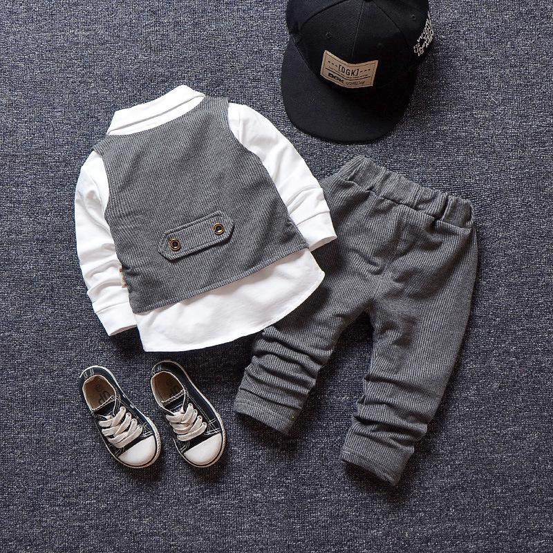 Conjuntos de Roupas meninos Primavera Outono Moda Infantil Senhores Do Partido casamento Vest + Camisa + Calças Para Meninos Crianças Roupas de Aniversário
