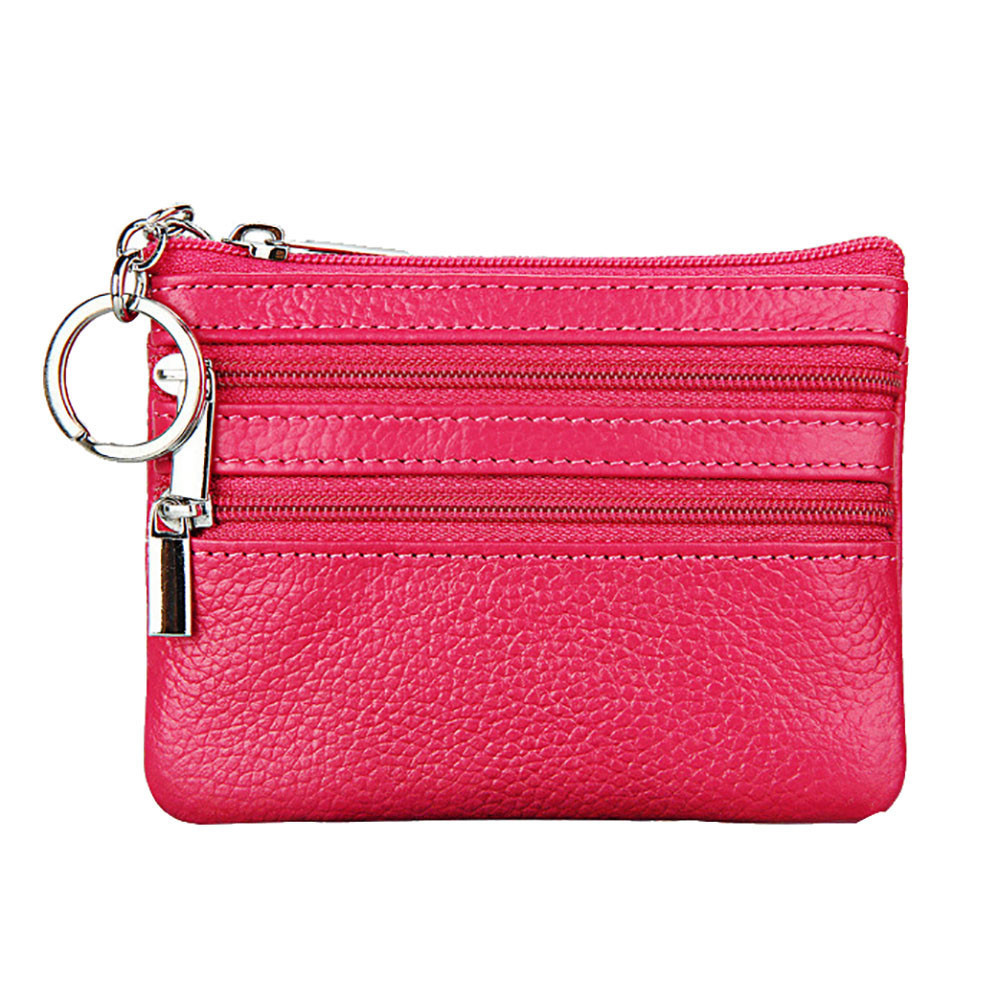 Simple Money Bags Small Change Women's Fashion Wallets Key Holder Case Mini Zipper Coin Leisure Leather Genuine Wallet 10