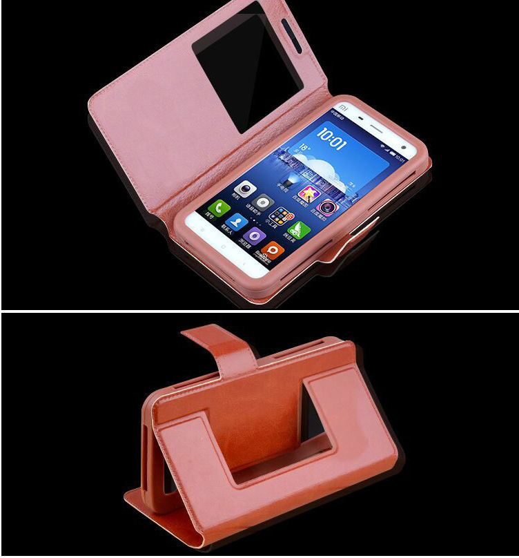 Universal Leather Sheath Silica Gel Hand Shell Renovate 4.2-6 Inch General Purpose Mobile Phone Set Avoid Punch Window Leather Sheath